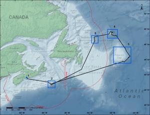 Original expedition route off the Canadian East Coast onboard the CCGS Hudson. Exploration of Site 5 (Tobin's Point) had to be cancelled due to a number of unexpected delays.