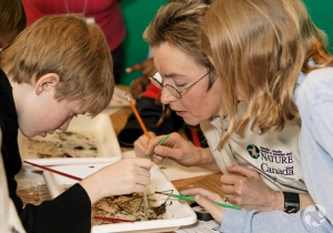 Suzanne Allyson shows aquatic invertebrates to some youths.