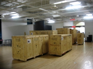 Large wooden crates in a gallery of the Canadian Museum of Nature.