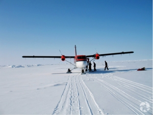 A Twin Otter aircraft on the snow.