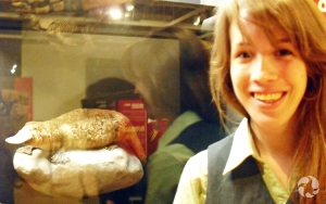 An educator in front of the duck-billed platypus (Ornithorhynchus anatinus) exhibit in the Extreme Mammals exhibition.
