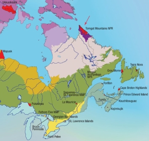 "Detail from the map ""The National Parks of Canada and Terrestrial Ecozones"", with Torngat Mountains National Park specially identified."