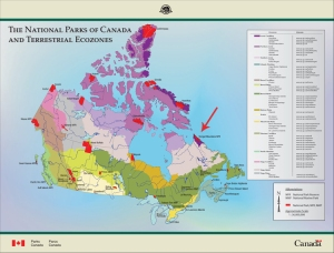 Map: The National Parks of Canada and Terrestrial Ecozones, with Torngat Mountains National Park specially identified.