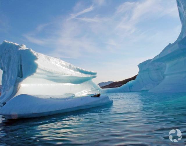 An iceberg near shore.