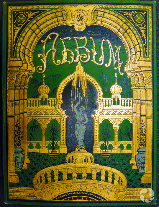 Cover of a leather-and-gilt-bound book.