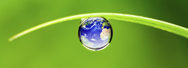 A drop of water with Earth superimposed on it, hanging from a blade of grass.