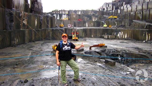 Paula Piilonen in an open pit mine.