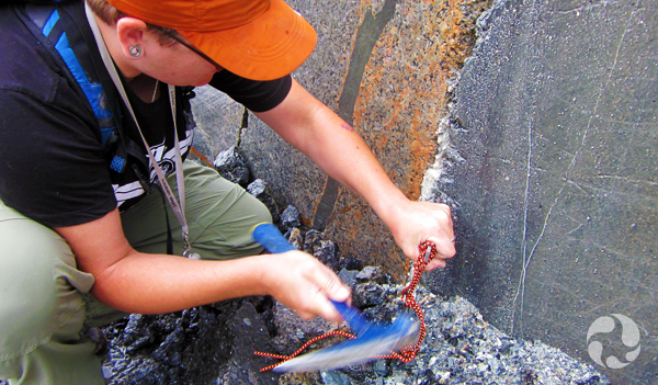 Paula Piilonen collects rock specimens in the Klåstad Quarry.