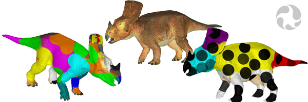 Three images of Vagaceratops irvinensis: one in an orangey brown and the others with patches of bright colours and black spots.