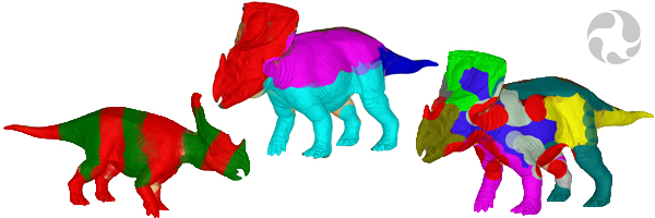 Images of 3D dinosaur models (Vagaceratops irvinensis) wildly decorated with stripes, dots and bright colours.