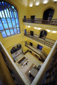 View from the top (fourth) floor, overlooking the atrium.