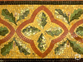 Detail of the mosaic on the floor of the atrium.