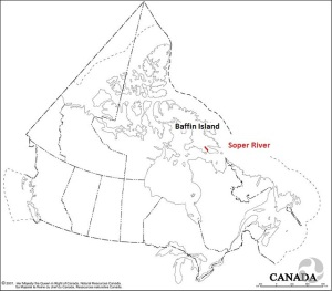 A map of Canada showing the Baffin Island and the Soper River, in Nunavut.