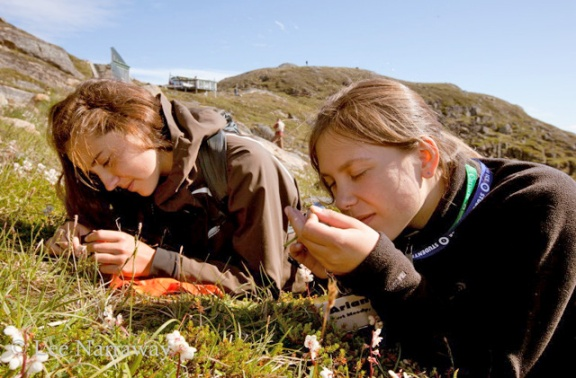 Two girls examine plants close to ground.