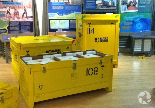 Shipping crates and exhibition panels.