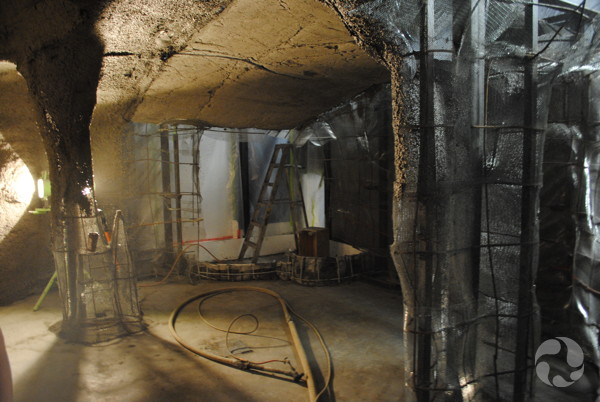 View of the inside of the cave under construction.