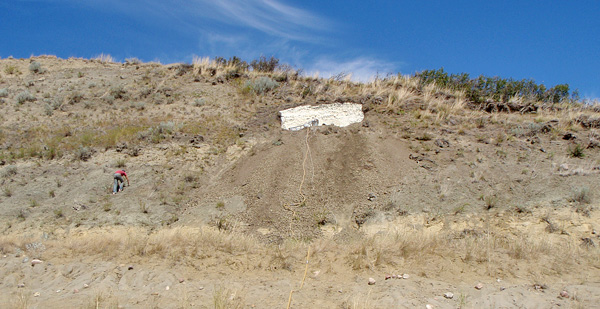 View of the moulding site on the side of the hill.