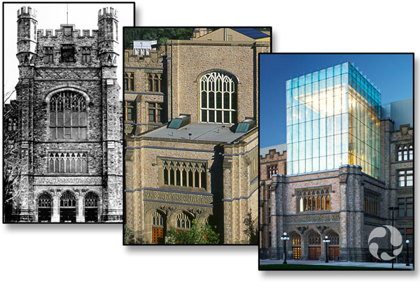 Collage of three views of the museum showing the original tower (archive photo CMN15276), the base after the tower was removed, and the new tower.