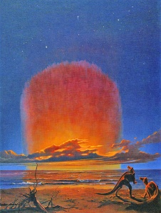 Illustration of two dinosaurs on a beach, with the meteorite strike in the distance.
