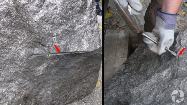 Two photos: One showing the borehole, and the other showing it being chiselled away.