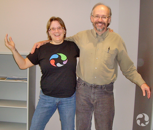 Paula Piilonen and Scott Ercit stand together in a pose that mimics the Dr. Seuss illustration.
