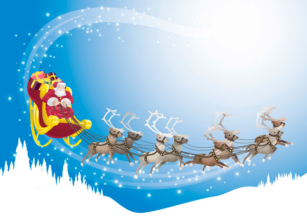 Illustration of eight grey reindeer with large antlers pulling Santa's sleigh.