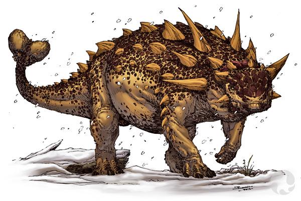 Illustration of a clubbed ankylosaur.