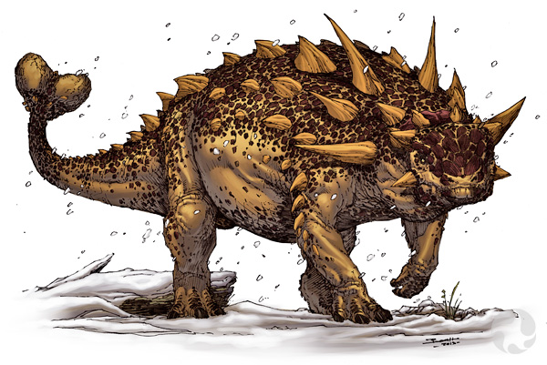Illustration of a clubbed ankylosaur.