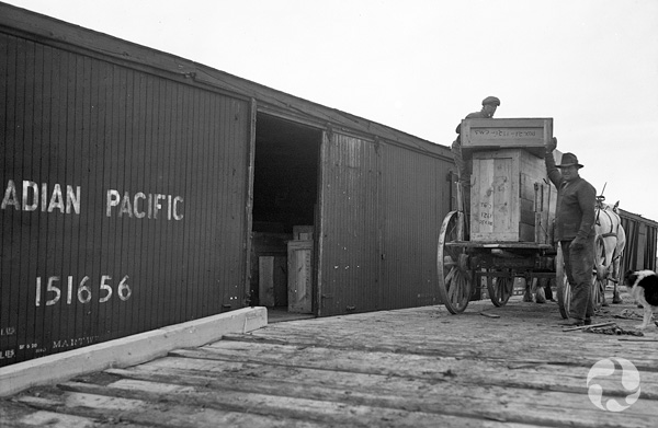 Two men load a horse cart with wooden boxes on the platform beside a freight train.