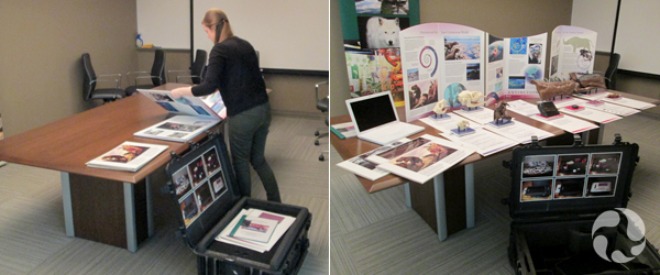 Collage: A woman unpacks a case onto a large table, and the contents of the case arranged on the table.
