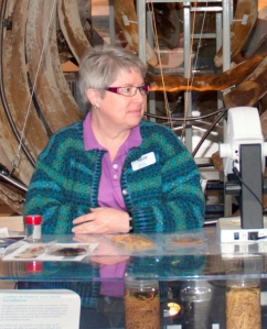 Judith Price stands behind display cases with specimens and a microscope on top, with blue-whale ribs in the background.