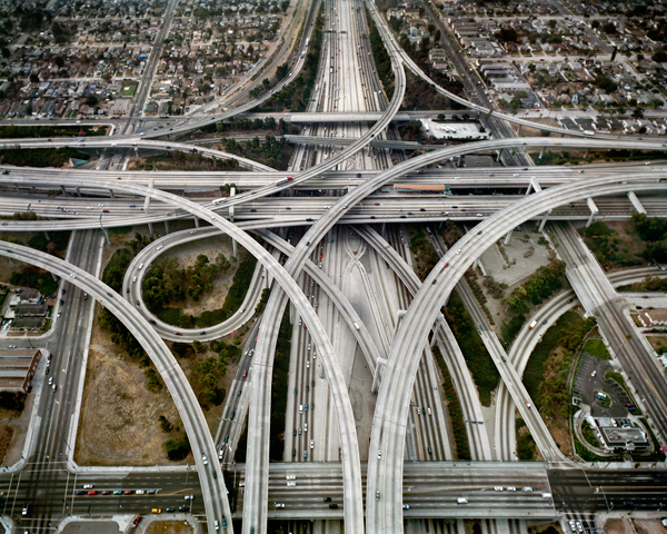 Aerial view of a highway interchange.