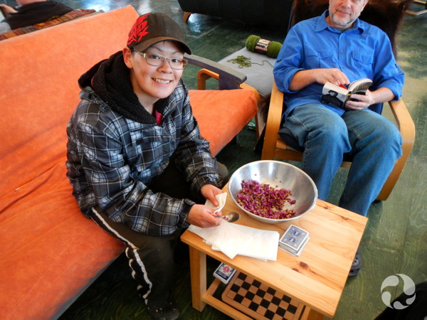 Youth expedition participant Alicia Manik serves up Purple Mountain ...