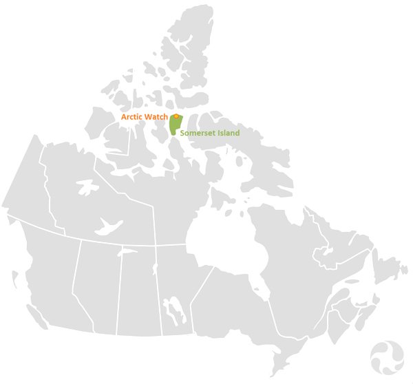 Map of Canada highlighting Somerset Island in the High Arctic.