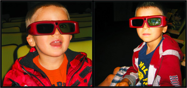 Photos of children in 3D glasses in our theatre.