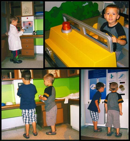 Photos of children playing in the Bird Gallery.