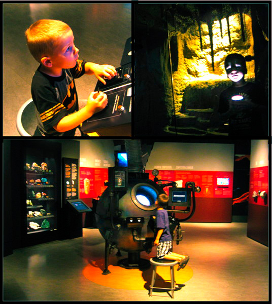 Photos of children playing in the Vale Earth Gallery.