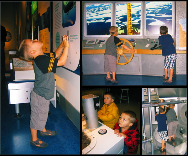 Photos of children playing in the RBC Blue Water Gallery.