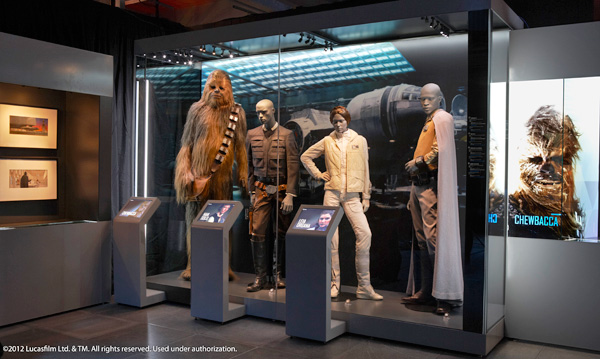 A model of Chewbacca and other characters in the Star Wars Identities exhibition at the Canada Aviation and Space Museum.