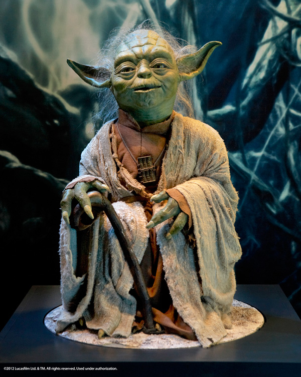 A model of Yoda in the Star Wars Identities exhibition.