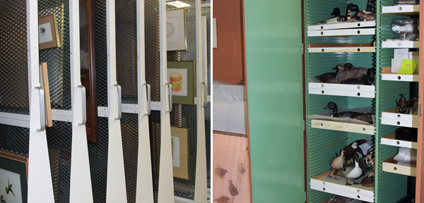 Collage: Storage racks holding framed, two-dimensional artworks, an open cabinet containing sculptures on shelves.