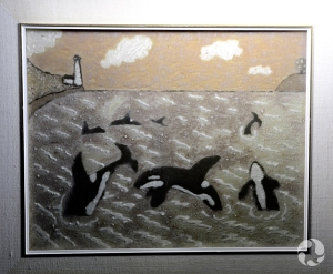 Several killer whales (Orcinus orca) are depicted leaping and swimming at the surface of a bay, near a lighthouse.