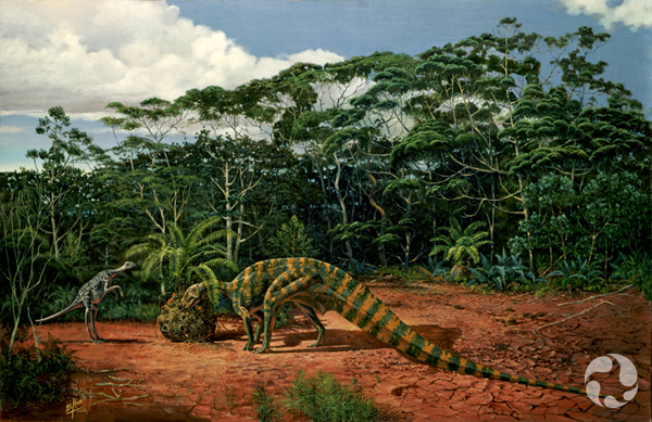 A painting of two dinosaurs in their habitat.
