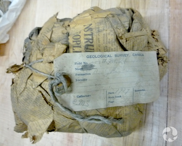 A string-tied bundle wrapped in old newspaper, with a tag.