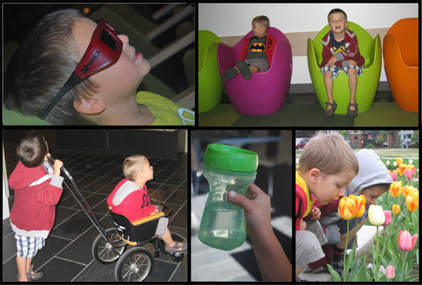 A collage of photos showing two young boys doing various activities at the museum.