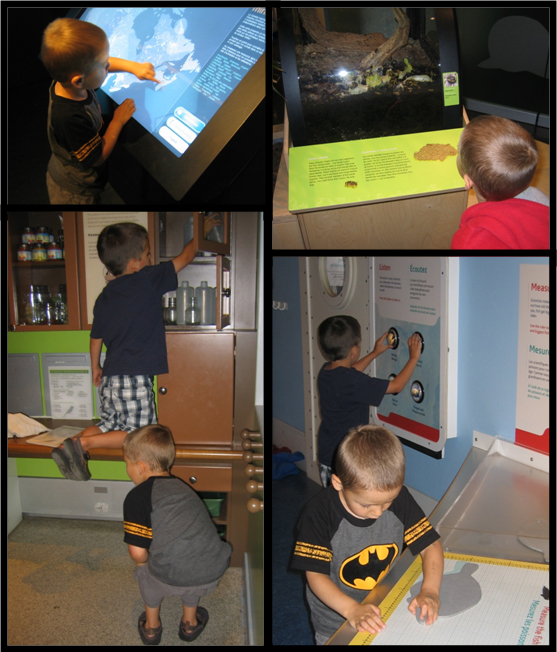 A collage of photos of two boys playing with mechanical and computer interactives in the museum.
