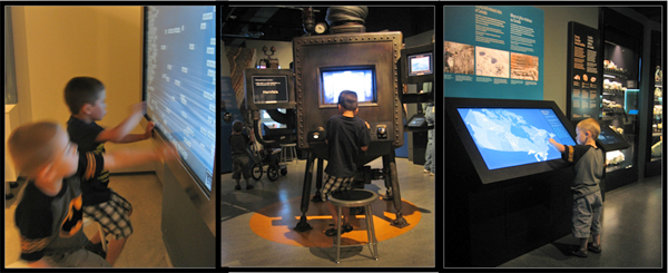 Three photos that show two young boys playing with computer interactives.
