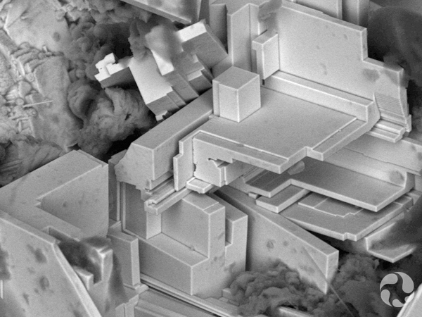 Image from a scanning electron microscope shows layered crystals of nisnite.
