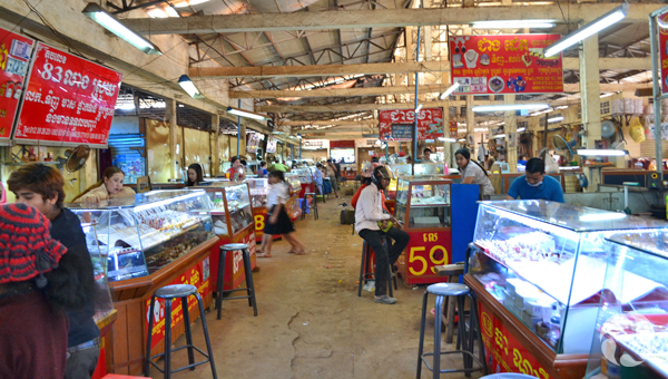 View of the market in Ban Lung, where gems are sold.
