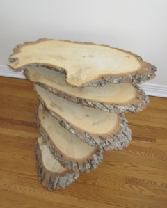 A stack of slices from a log.
